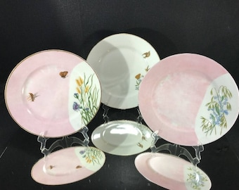 AESTHETIC PERIOD Victorian Haviland Limoges Hand Painted Plates 3 Pieces Butterflys  Flowers