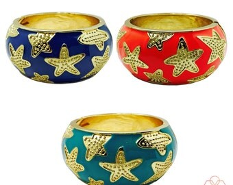 SALE! Bracelet works w/ Fitbits & Most Other Fitness Trackers -The STARFISH Navy or Coral Hinge Bangle Bracelet- As seen on The Today Show!