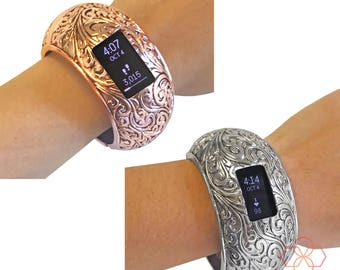 Fitbit Bracelet for Fitbit Charge 2 Fitness Activity Trackers - The PAIGE INSIGHT Engraved Hinge Bangle Fitbit Bracelet - Free US Shipping