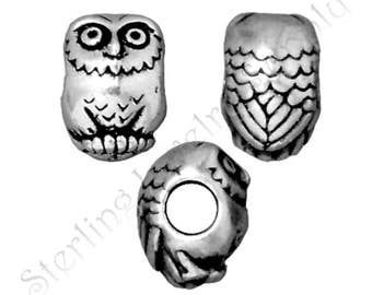 TierraCast Owl Large Hole Bead, Antique Silver Plated Lead-Free Pewter, Authorized Tierracast Dealer, USA Seller (T319)