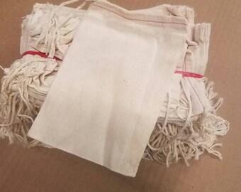 "5"" × 7"" cotton bag with single drawstring. Bundle of 100"