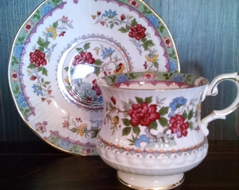 queens rosina bone china flower of  amaron english cup and saucer