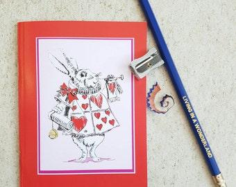 Wonderland notebook - Wonderland- White Rabbit notepad- Alice in Wonderland- animal lover notebook- animal lover gift- Wonderland stationery
