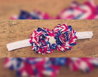American flag/shabby flower/rhinestone/memorial day/fourth of july/labor day/headband/hair clip/girls/baby/accessory/hair/red white and blue