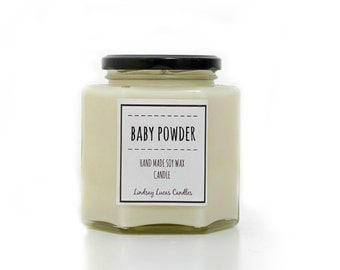 Baby Powder Scented Candle, Baby Powder Candle, Strong Scented Candle, Hand Made Candle, Soy Wax Candle, Baby Powder Scent, Jar Candle