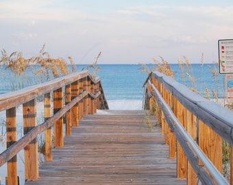 Boardwalk to White Sandy Beach photography, Path to Beach art, Walk to Blue Water Beach picture