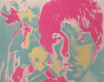 1967 The Beatles Poster, Paul McCartney, Original Vintage Richard Avedon Psychedelic Art