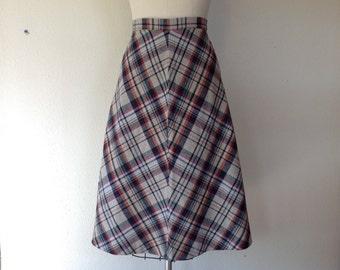 1970s Chevron plaid A-line skirt