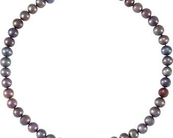 Lovely Sterling Silver Freshwater Cultured Black Pearl 18 inch Necklace, 10-11 mm Pearls