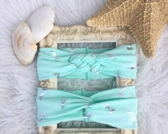 Mint green/mermaids/Turban headbands/Celtic knot headbands/mermaid print/headbands/baby turban headband/toddler turban headbands