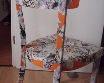 Vintage Frankfurter Chair with silver Moon manga comic collage, Upcycling unique anime furniture