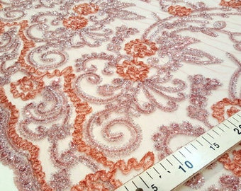 Pink and gray sequins lace fabric #101