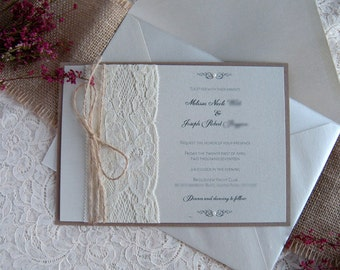 Rustic Wedding Invitation, Lace Wedding Invitation, Dusty Rose Wedding Invitation, Rose Gold Wedding Invitation, Gold Wedding Invitation