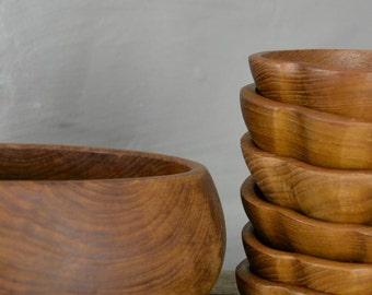 Teak Bowl & 6 Small Bowls