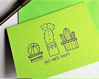 Get Well Cacti - hand drawn cacti trio, get well card,  A6 blank card, gender neutral card, get well soon