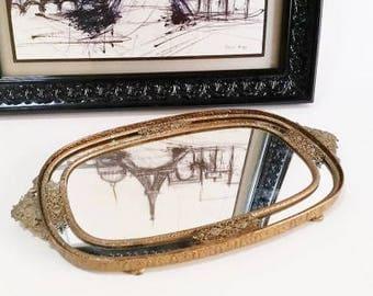 Vanity Tray, Perfume Tray, Oval Mirror Tray, Mirrored Tray