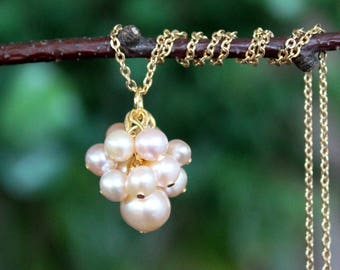 Freshwater Pearls Cluster Pendant Necklace.Sterling Silver Chain.Gold Filled Chain.Statement.Dainty.Bridal.Mother's.Layering.Gift.Handmade.