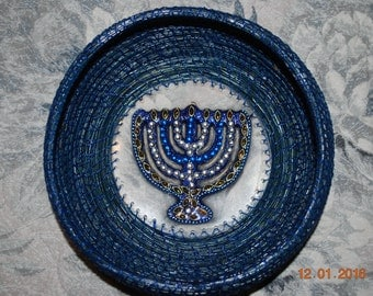 "Pine Needle Basket ""Hanukkah Menorah"""