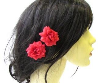 2 x Red Rose Flower Hair Pins Vintage Rockabilly Clip 1950s Bridesmaid Set 1526
