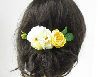 Lemon Pale Yellow Ivory Rose Carnation Flower Hair Comb Leaves Bridesmaid 2249
