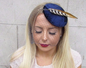 Navy Blue Birdcage Veil Pheasant Statement Feather Fascinator Hat Hair Vtg 2584
