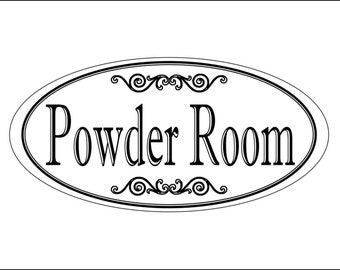 """3.75"""" x 7.75"""" Laser Engraved """"Powder Room"""" Plastic Door / Wall Sign - FREE SHIPPING"""