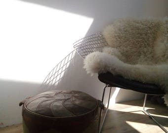 Vintage Leather Round Pouffe, Footstool, Ottoman in Brown and Cream Leather, Moroccan Styled Retro Foot Stool