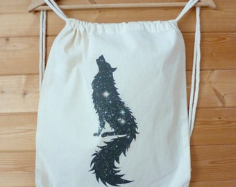 """Collection """"Top Of The Lake"""" - backpack in cotton 100% organic, digital printing """"Space wolf"""""""