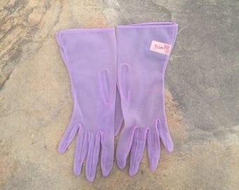 Vintage Lilac Sheer Wrist Length Gloves by Trim-Fit