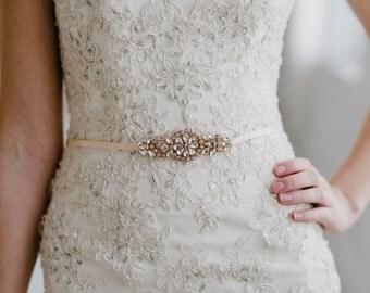 Rose Gold Wedding Belt   Rose Gold Bridal Belt   Bridesmaid Sash Belt   Rose Gold Bridal Accessories   Petite Gemma