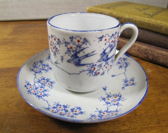 Demitasse Porcelain Teacup and Saucer Set - Blue and Red Flowers -  Barn Swallows - Made in Japan