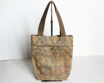 Khaki brown with colored pattern tote bag shoulder bag
