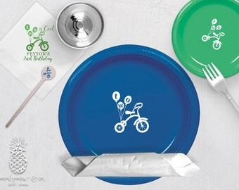 Personalized Plastic Cups | Personalized Plastic Plates | Monogram Napkins | Personalized Stir Sticks | 2nd Birthday Party Plates
