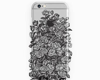 Black Roses Phone Case Transparent iPhone 7 Flower iPhone 6 Case Clear iPhone 7 Plus Case iPhone SE Case iPhone 6S Plus Cover iPhone 5 Roses