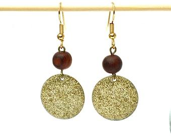 Gold Enamel Earrings, Gold Earrings, Enamel Earrings, Gold Earrings, Drop Earrings, Enamel Jewelry, Boho chic, Bohemian Earrings, Christmas