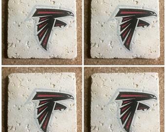 Atlanta Falcons Coasters ~  Set of 4 Stone Coasters ~Coasters ~ Natural Stone Tile Coasters ~ Football Coasters