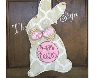 Wooden Easter Bunny door hanger
