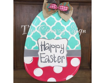Wooden Quatrefoil Polka Dot Easter Egg door hanger