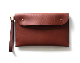 Leather Clutch Oversized Laptop Portfolio Handmade in Australia