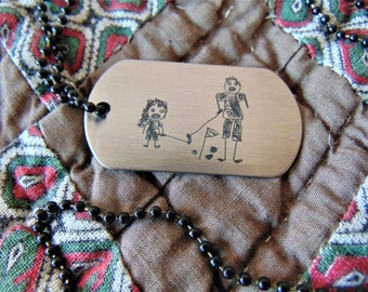 Child's Artwork Drawing Engravedon Dog Tag -or key chain -Actual Handwriting-Laser Engraved-Stainless Steel-Father's Day gift Christmas Gift