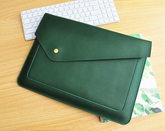 Personalized computer case leather notebook case leather laptop sleeves custom size for 11inch -15inch laptop covers Green leather bags-089