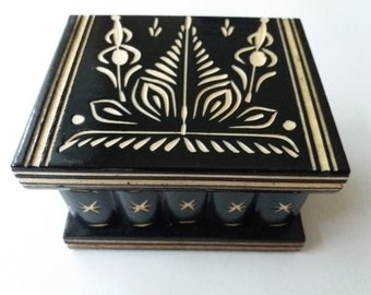 New cute handmade black wooden secret magic puzzle jewelry ring holder box gift toy