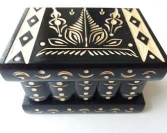New beautiful black handcarved,handmade wooden puzzle box,secret box,magic box,jewelry box,brain teaser,storage box