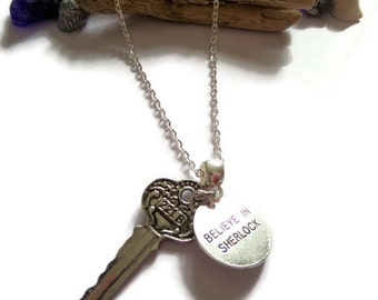 221b key necklace, believe in sherlock, sherlock necklace, sherlock holmes, fan jewellery, sherlock fan gift, sherlock 221b, fan gift,