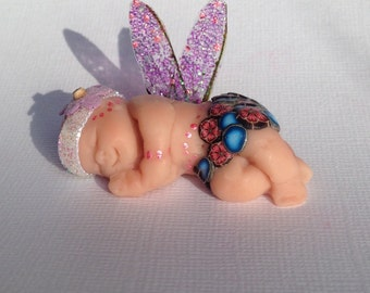 Fairy Baby, Polymer Clay Fairy, Baby Girl, Faery, Cake Topper, Baby Shower, Sculpture, Baby , Magic