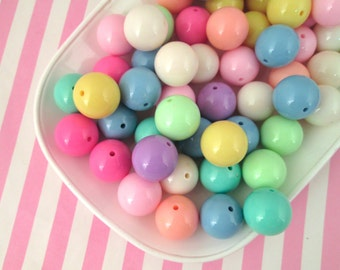 10 20mm Pastel Bubble Gum Beads, Chunky Gum Ball Beads, #826