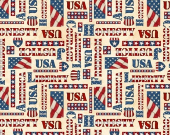American Honor Patriotic Words from Blank Quilting by the yard