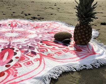 Pink Watercolor Mandala Flower Round Beach Yoga Luxury Towel Bohemian Blanket