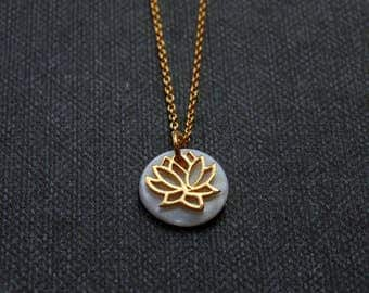 Gold vermeil lotus flower charm and white mother of pearl shell necklace