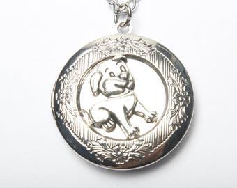 Dog Locket Necklace Silver Locket Womens Locket Bridesmaid Locket Jewelry Lucky dog Gift